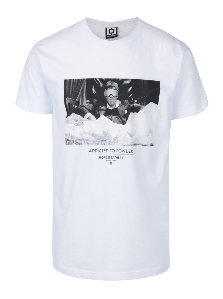 Tricou alb pentru barbati cu print Horsefeathers Montana