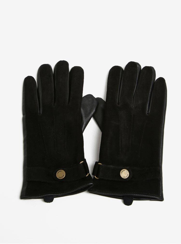 Černé semišové rukavice Selected Homme Eric
