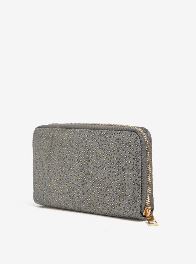 Šedá peněženka s aplikací ve zlaté barvě Haily´s Pam