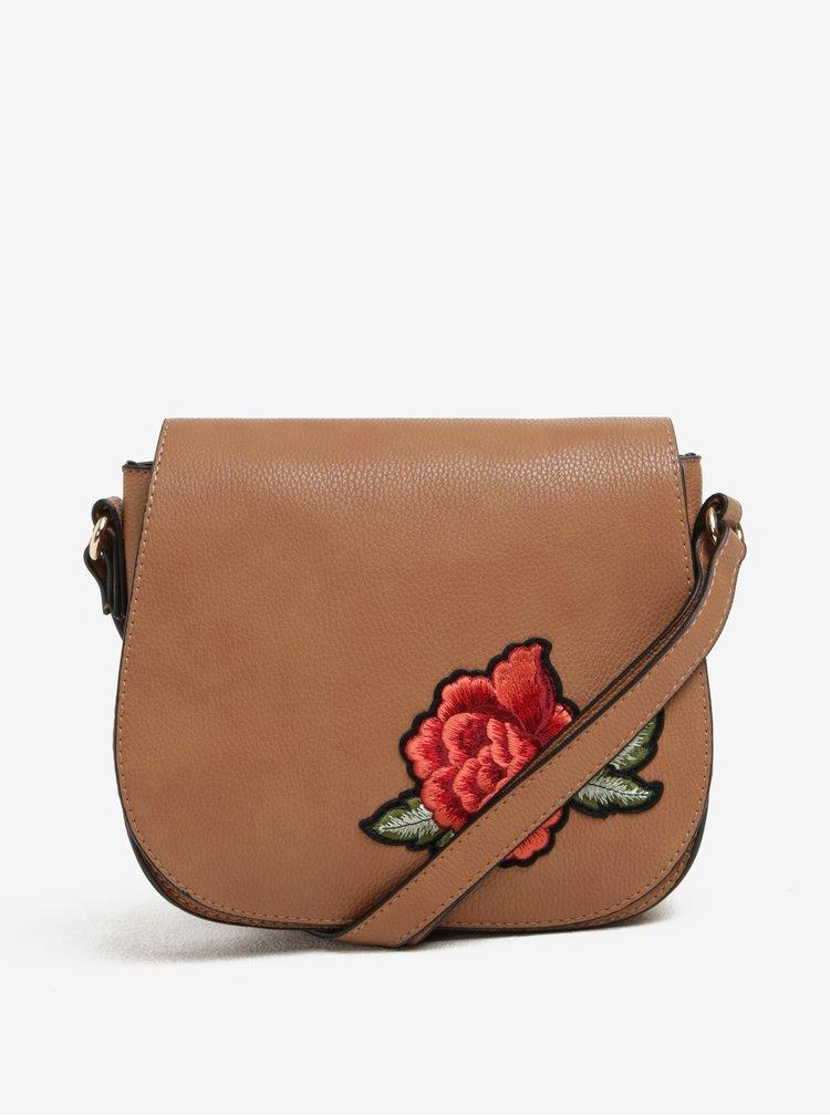 Hnědá crossbody kabelka s nášivkou Haily´s Larissa