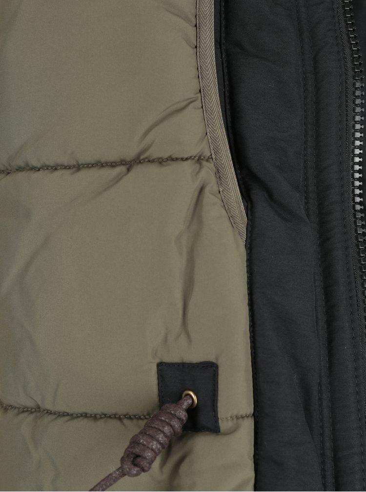 Černá parka s umělou kožešinou Jack & Jones Arctic