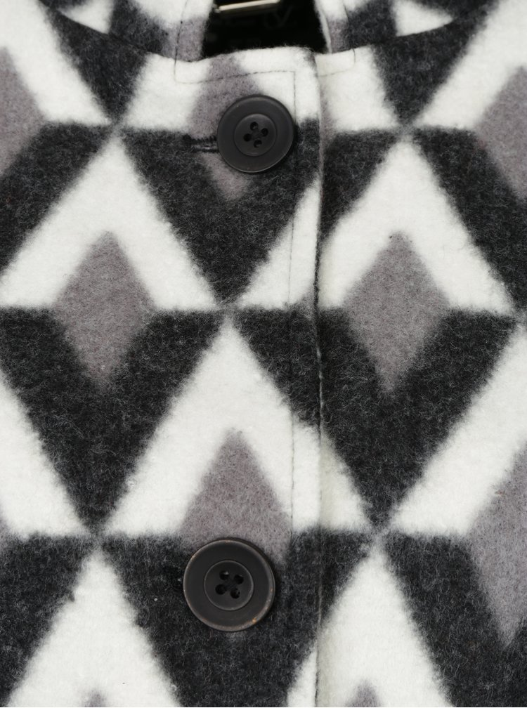 Palton cambrat cu print geometric Smashed Lemon