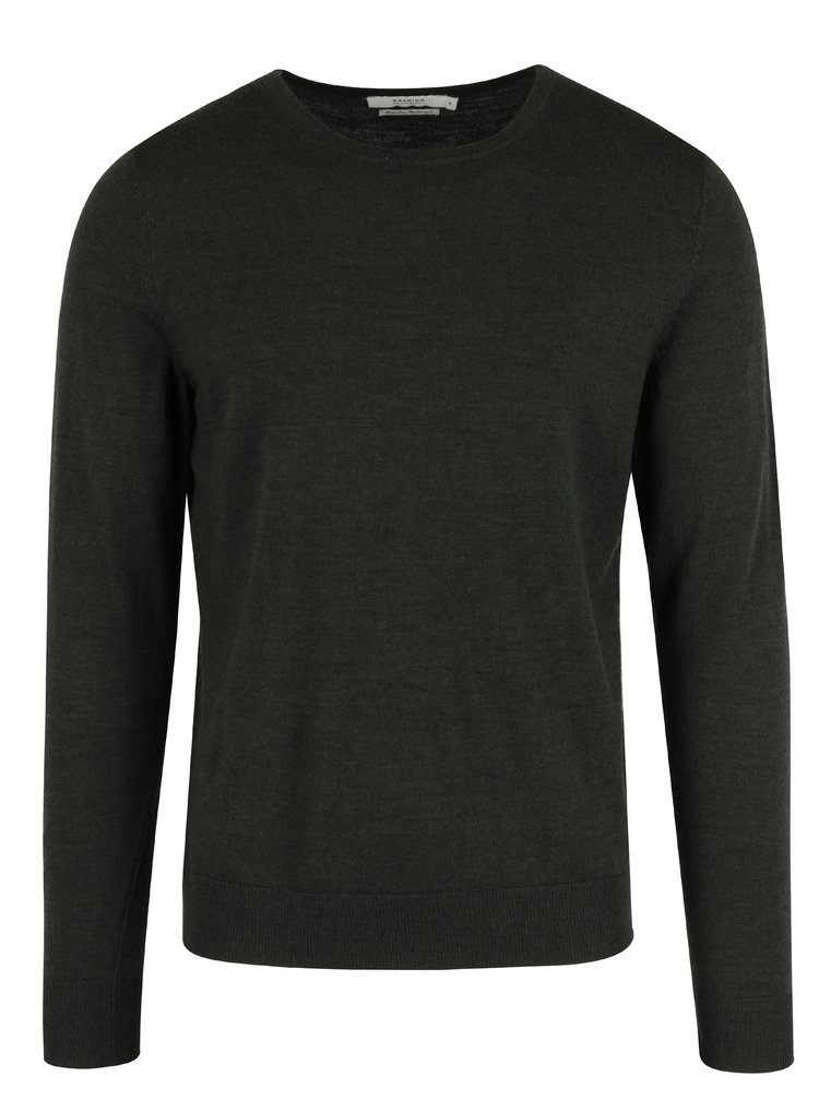 Tmavě zelený vlněný svetr Jack & Jones Premium Mark