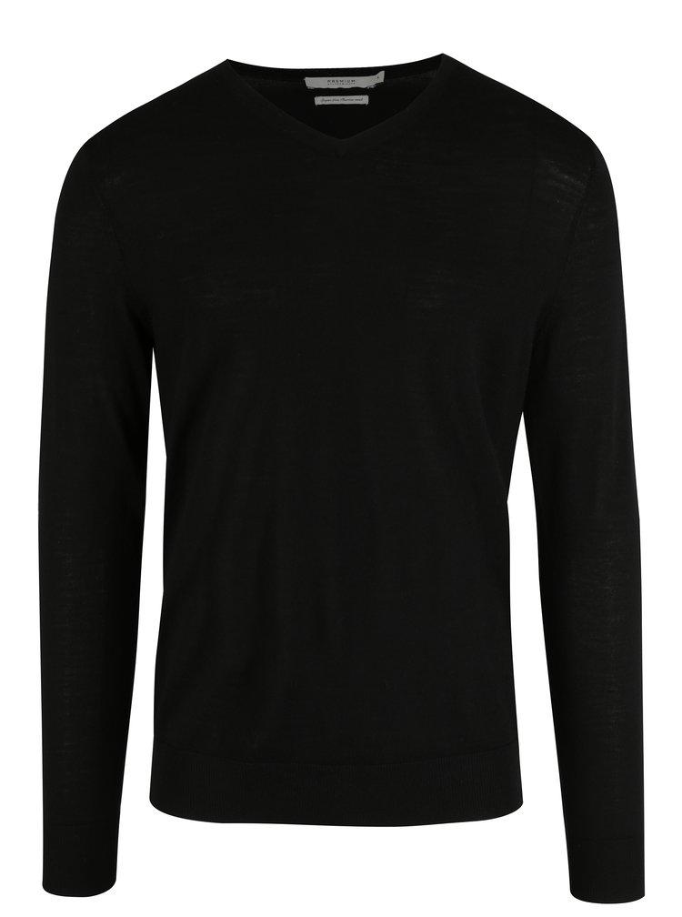 Černý vlněný svetr s véčkovým výstřihem Jack & Jones Premium Mark