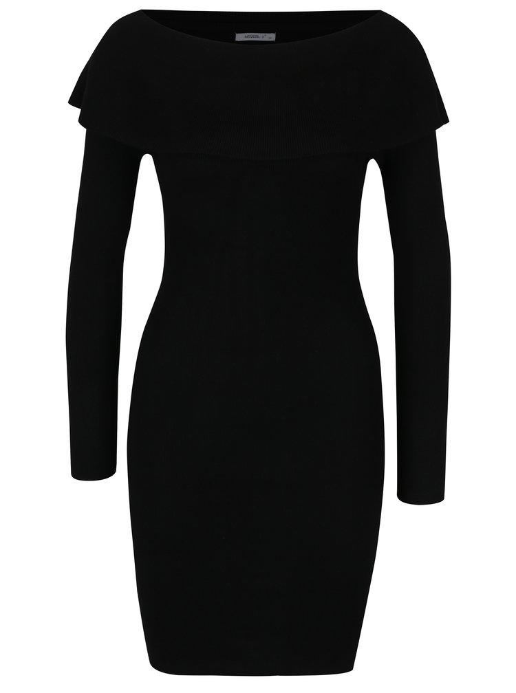 Černé svetrové šaty s lodičkovým výstřihem Haily´s Leonie