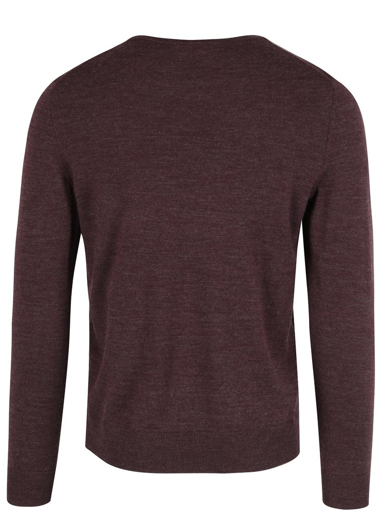 Pulover bordo din lana Jack & Jones Premium Mark