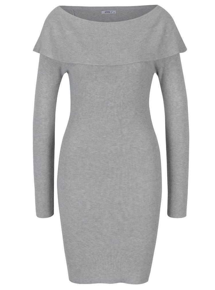 Šedé svetrové šaty s lodičkovým výstřihem Haily´s Leonie
