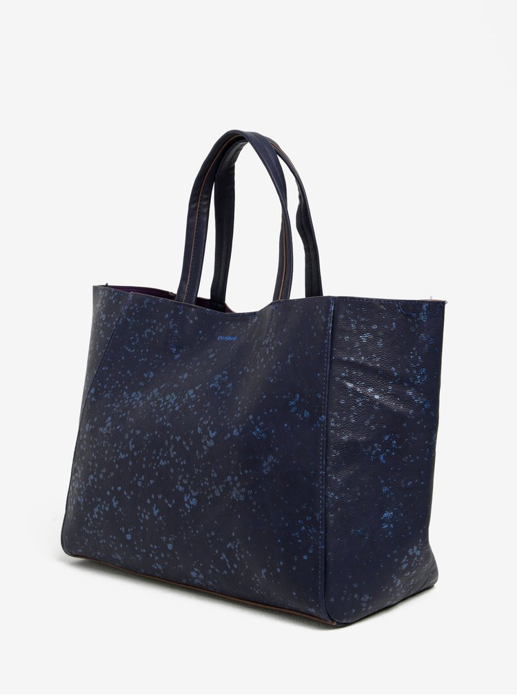 Geanta shopper bleumarin 2 in 1 - Desigual Cuenca Metal Splatter