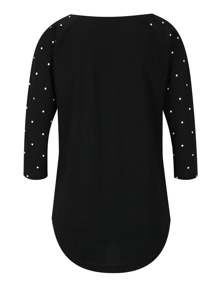 Tricou negru pentru femei cu maneci 3/4 Horsefeathers Togo