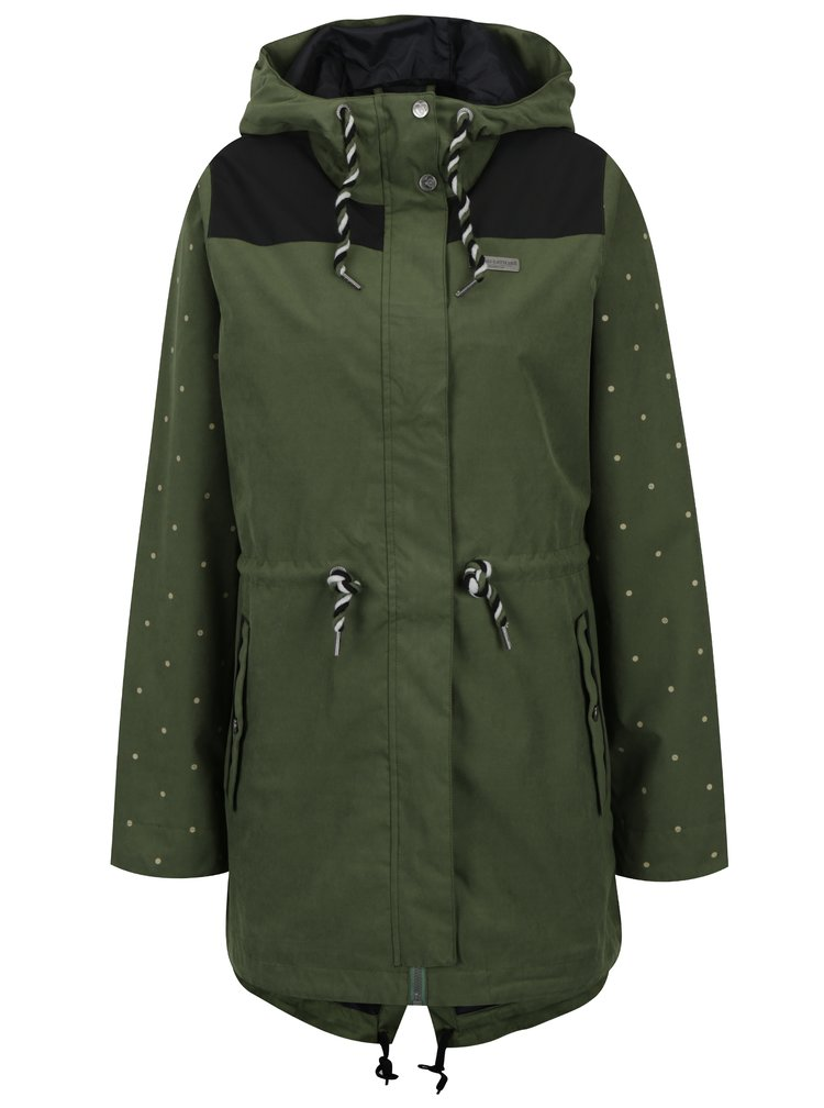 Geaca negru & verde impermeabila cu gluga pentru femei Horsefeathers Birch