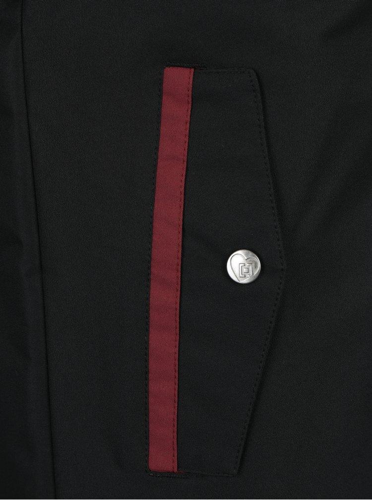 Geaca negru & bordo impermeabila cu gluga pentru femei Horsefeathers Birch