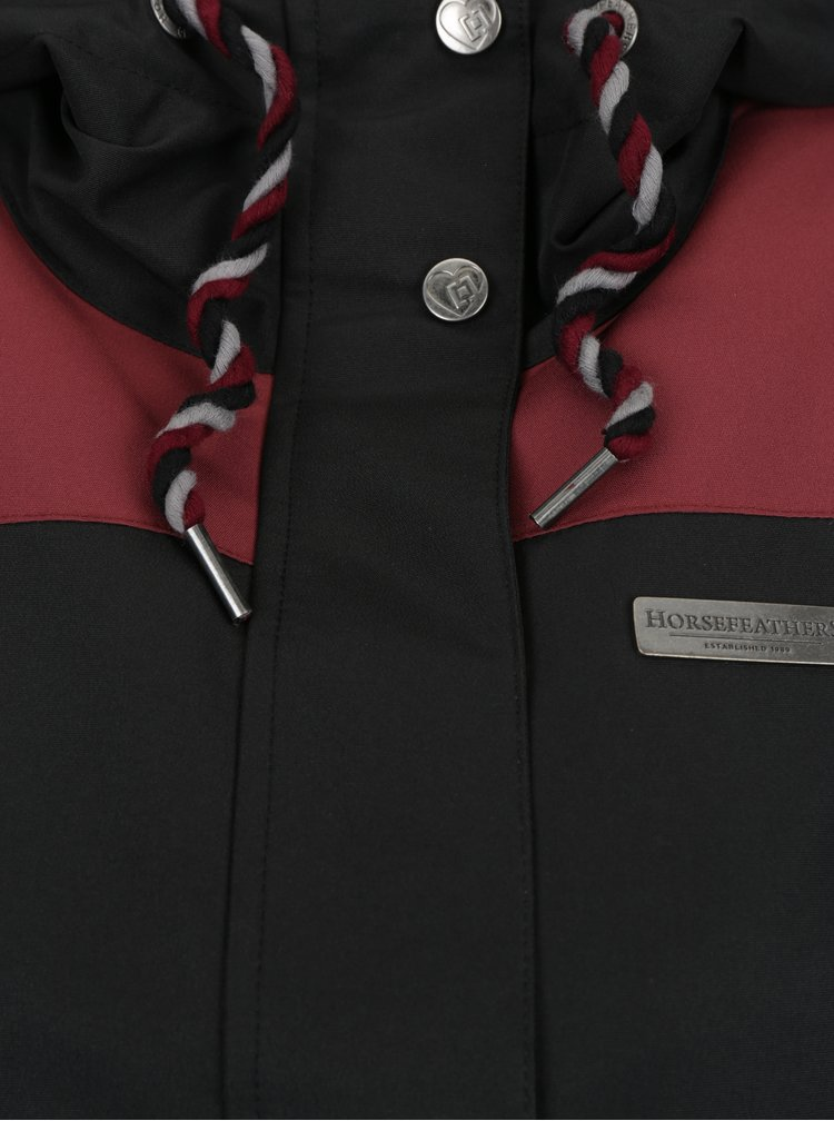 Geacă negru & bordo impermeabilă cu glugă pentru femei Horsefeathers Birch