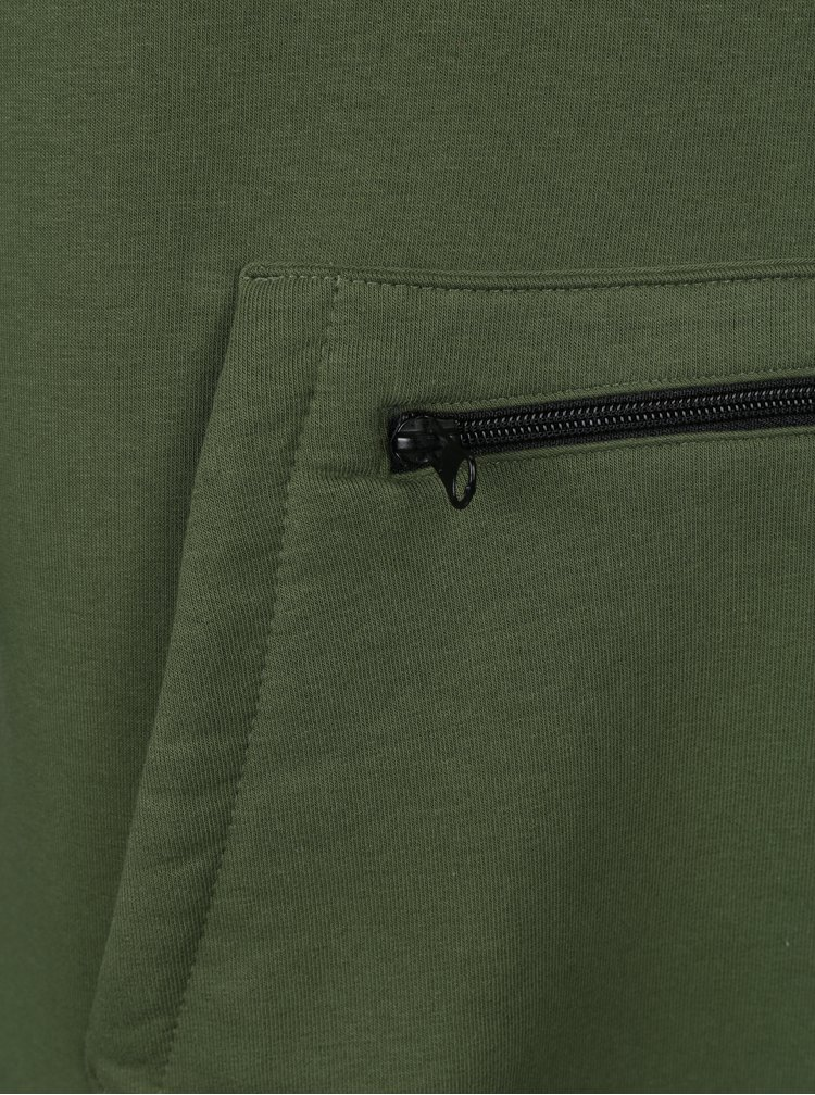 Černo- zelená pánská dlouhá mikina s kapucí Horsefeathers Sherwin II Long