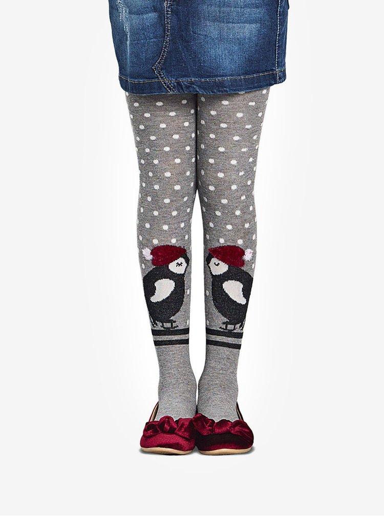Šedé holčičí punčocháče s motivem tučňáka Penti Penguin