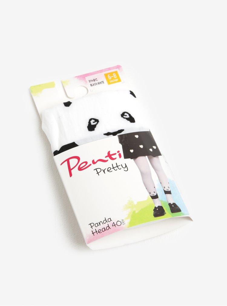 Bílé holčičí punčocháče s motivem pandy Penti Panda Head 40 DEN