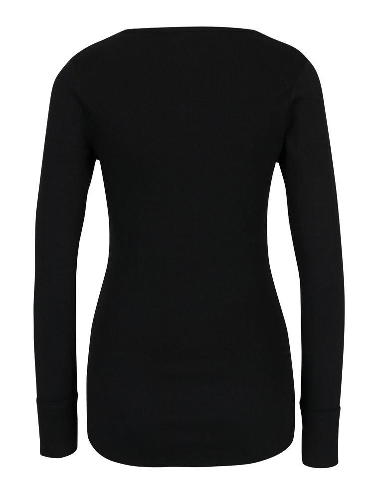Černé žebrované tričko se šněrováním v dekoltu Haily´s Britta