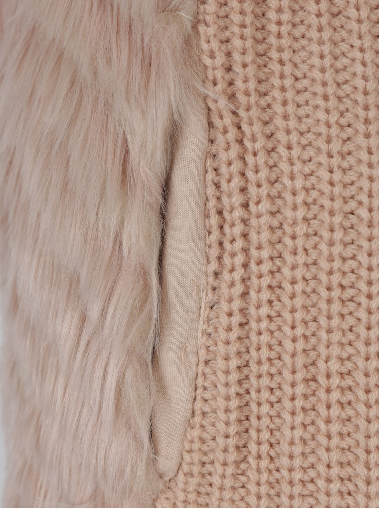 Vesta roz  prafuit tricotata cu blana Haily´s Tara
