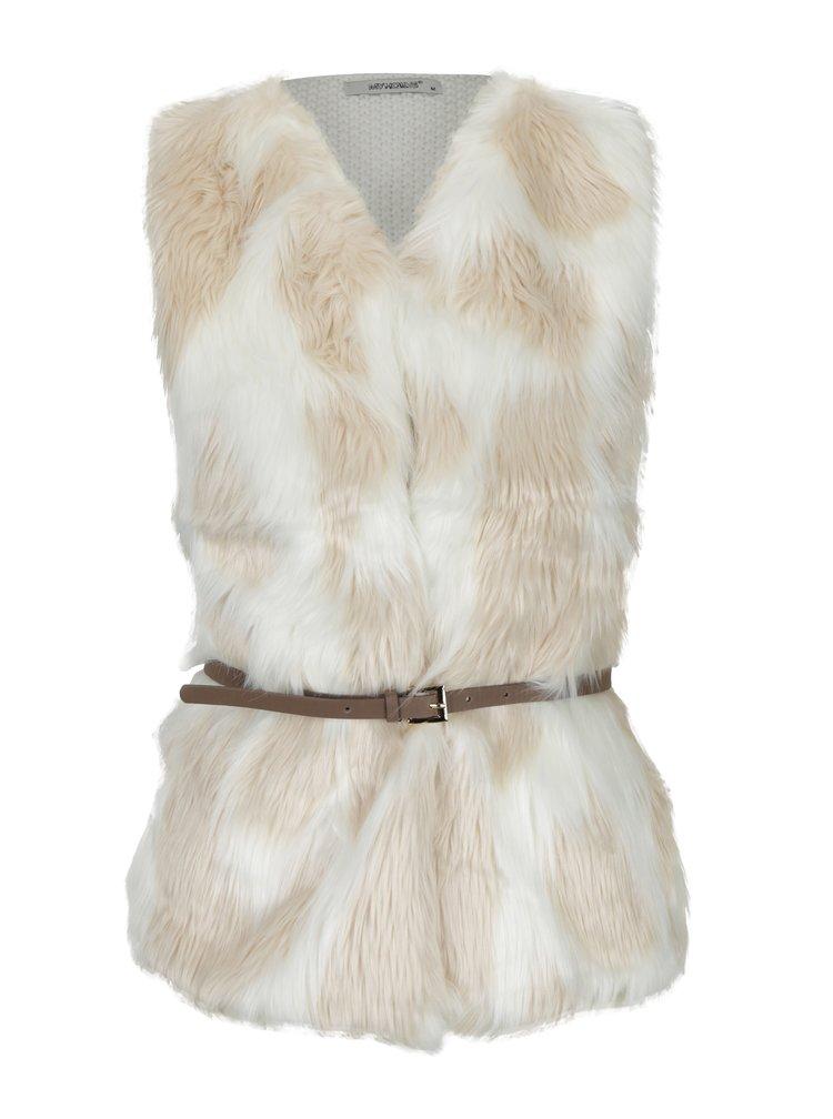 Vesta tricotata din blana artificiala cu centura Haily´s Tyra