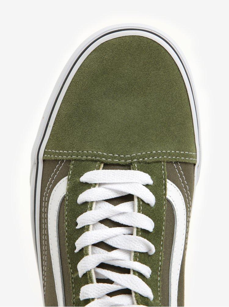 Tenisi barbatesti verde inchis cu detalii din piele - VANS Old Skool