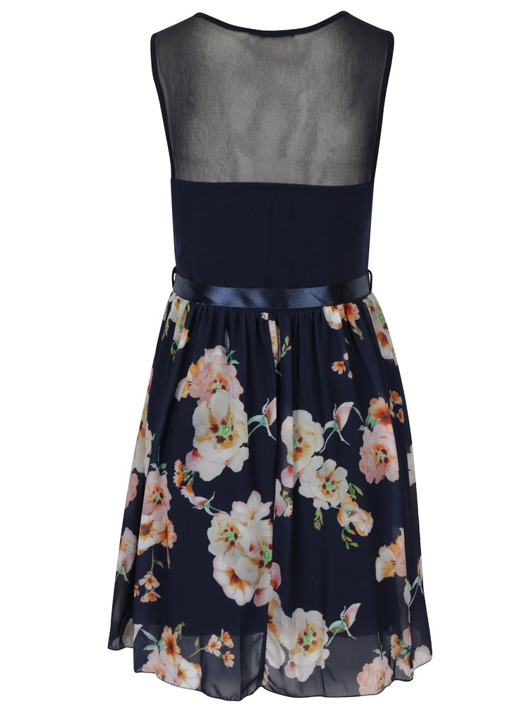 Rochie bleumarin cu print floral - Haily's Nell