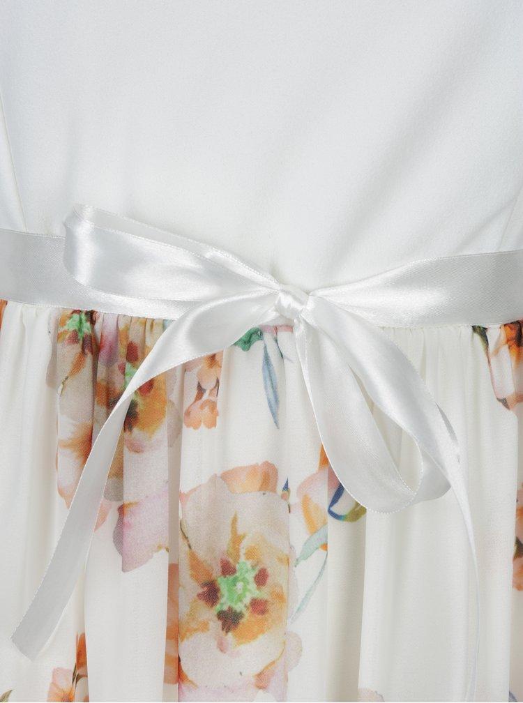 Rochie alb prafuit cu print floral - Haily's Nell