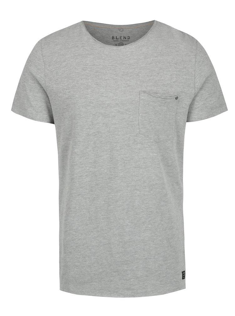 Šedé slim fit tričko s náprsní kapsou Blend