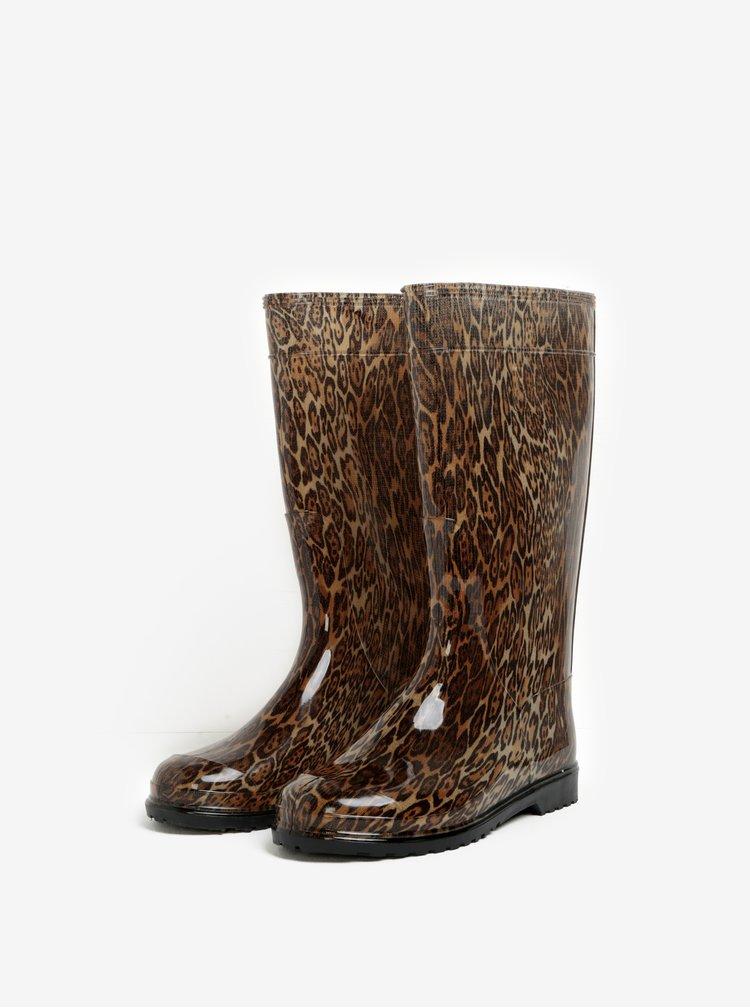 Hnedé dámske gumáky s leopardím vzorom Oldcom Rain