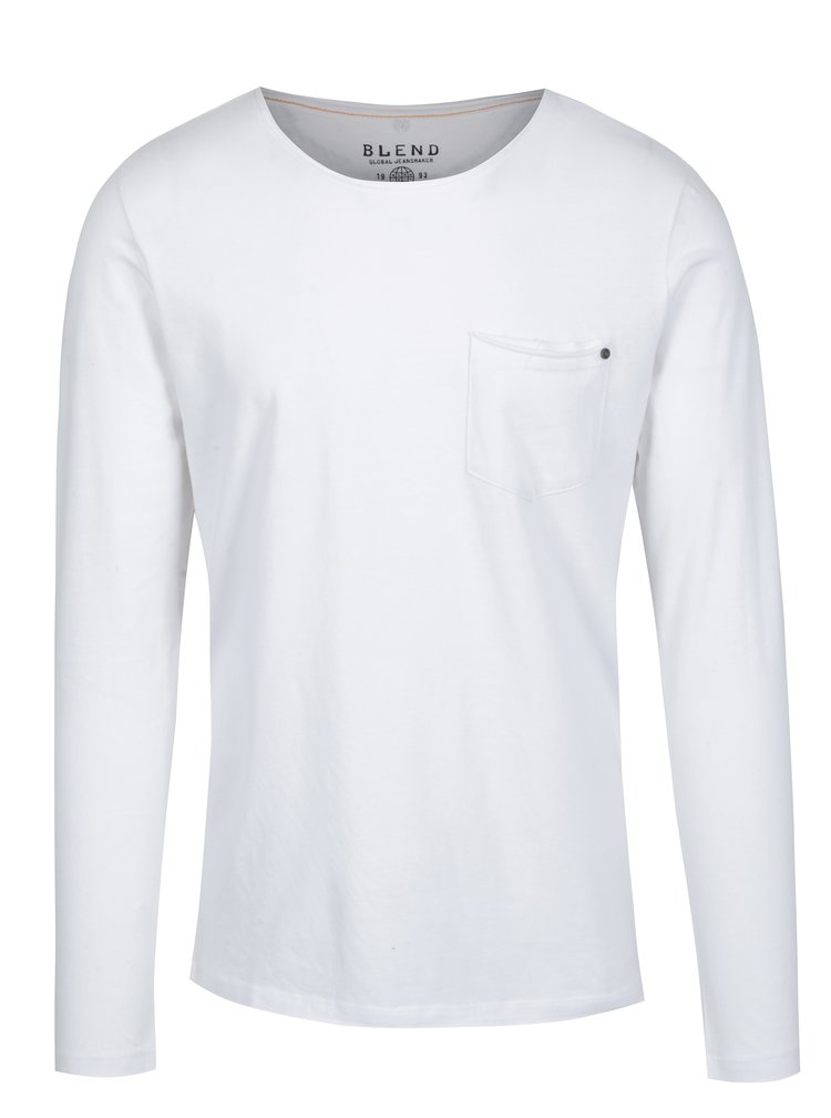 Bluza basic alba cu buzunar Blend
