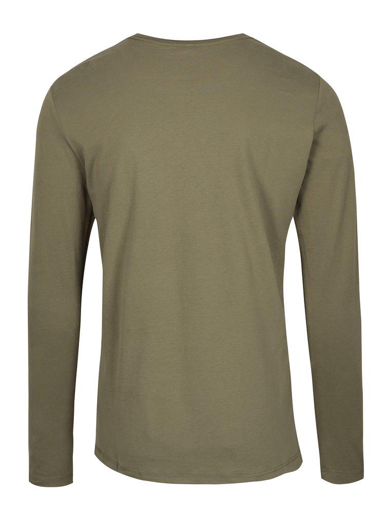 Khaki slim fit tričko s dlouhým rukávem Blend
