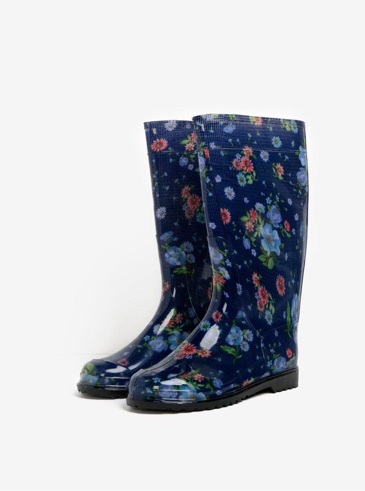 Modré dámské květované holínky Oldcom Rain