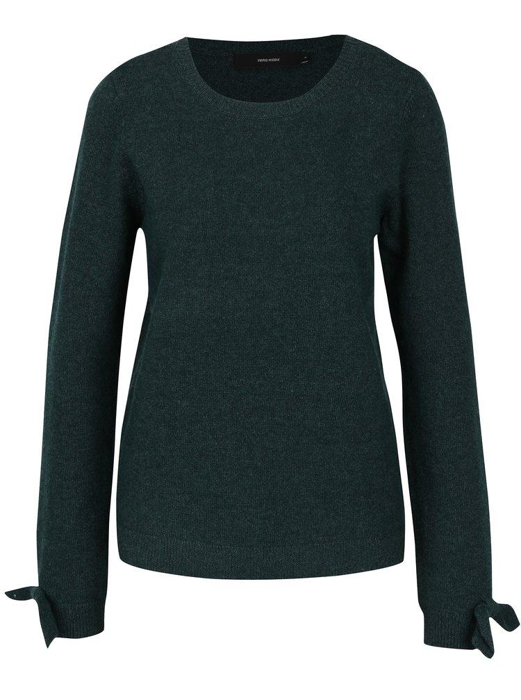 Tmavě zelený svetr s mašlemi na rukávech VERO MODA Davis