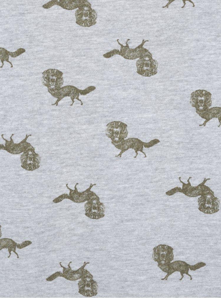 Tricou gri&kaki cu print  Blend