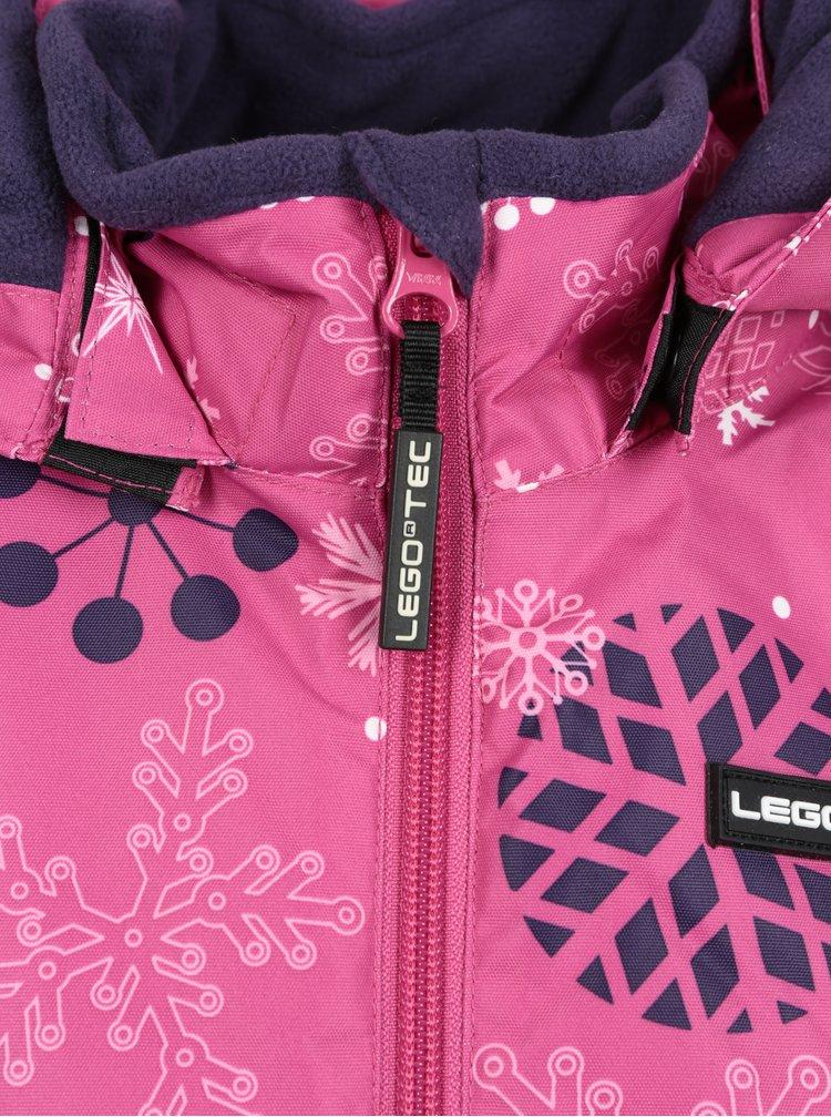 Růžová holčičí vzorovaná funkční bunda s odnímatelnou kapucí Lego Wear Jenny