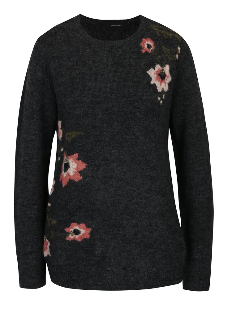 Tmavě šedý svetr se vzorem květin a příměsí vlny z alpaky VERO MODA Compton