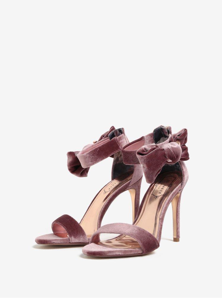 Sandale roz din catifea cu bareta si funda pe glezna - Ted Baker Torabel
