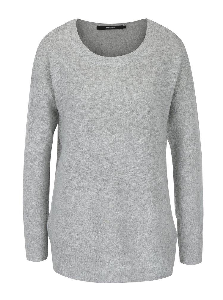 Světle šedý žíhaný svetr VERO MODA Neoma