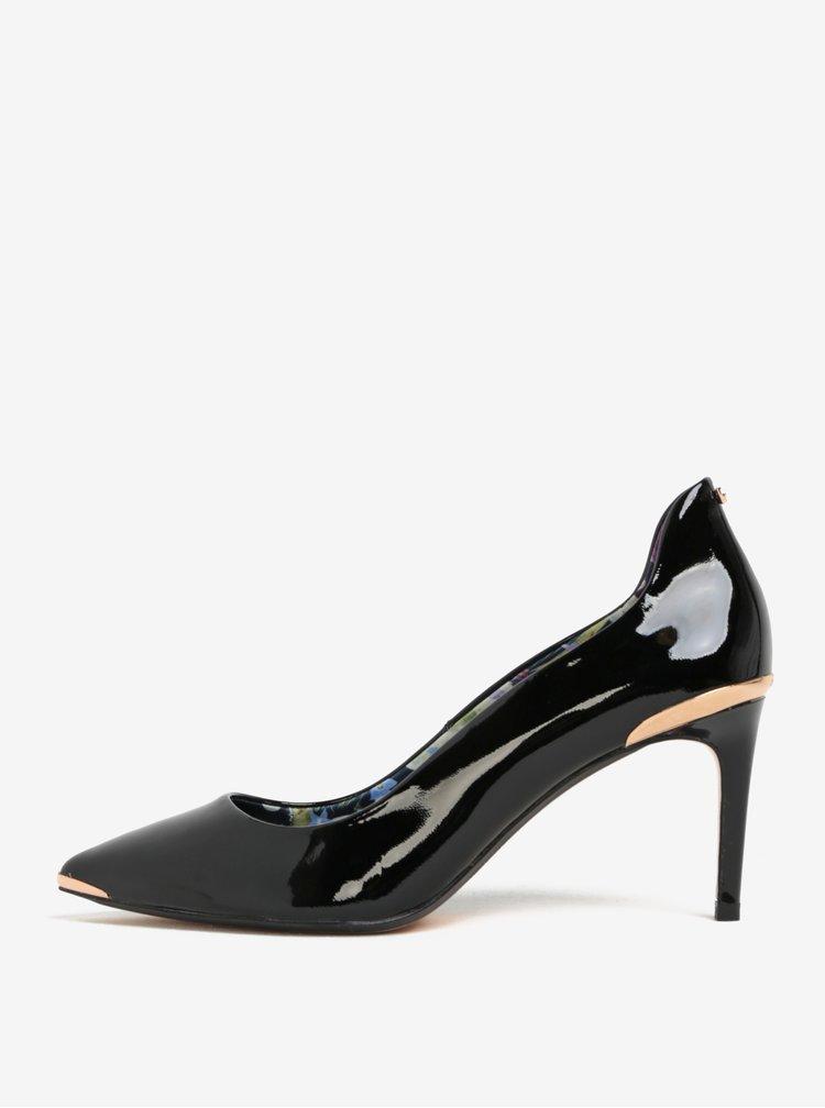 Pantofi negri din piele naturală lăcuită și detalii auriu rose - Ted Baker Vyixin