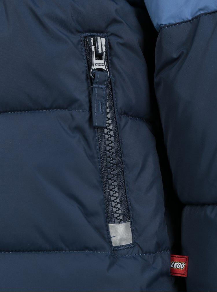 Tmavě modrá prošívaná klučičí funkční bunda s odnímatelnou kapucí Lego Wear Jazz