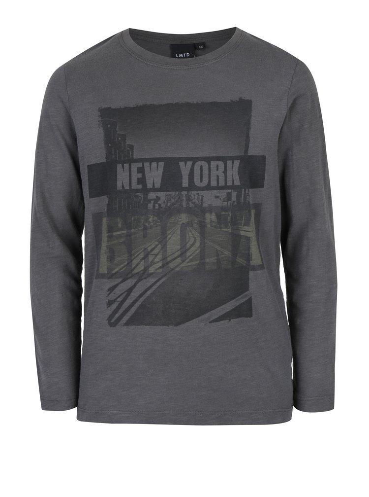Tmavě šedé klučičí tričko s potiskem LIMITED by name it Nesco