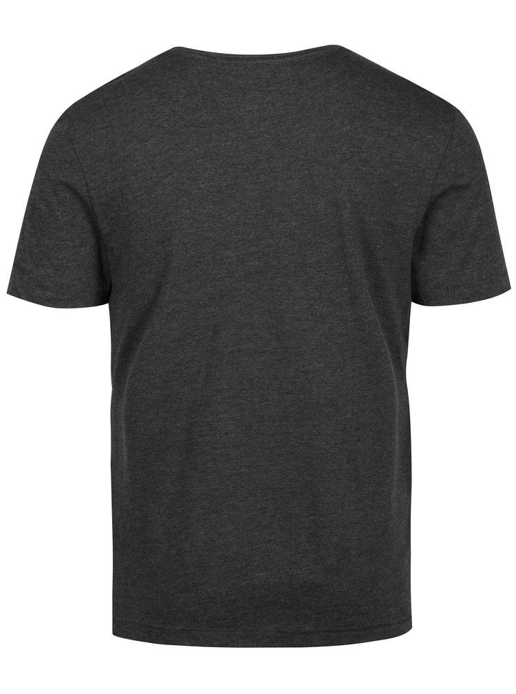 Tricou gri închis cu print geometric Blend