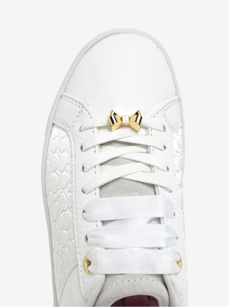 Biele kožené tenisky s detailmi v zlatej farbe Ted Baker Kulei