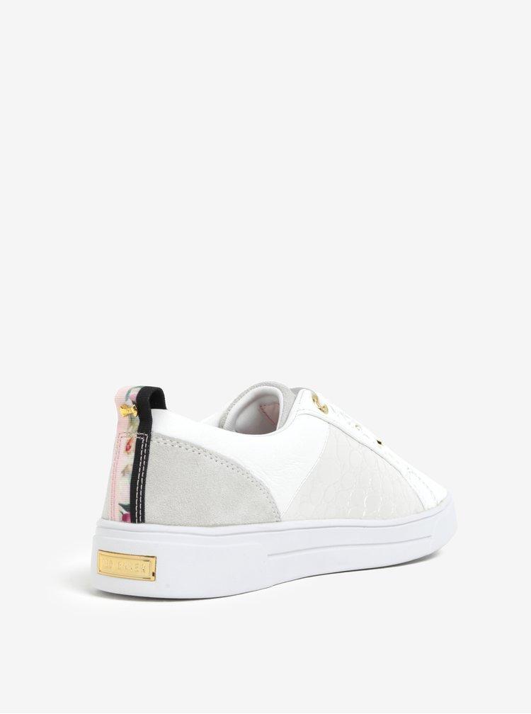 Bílé kožené tenisky s detaily ve zlaté barvě Ted Baker Kulei
