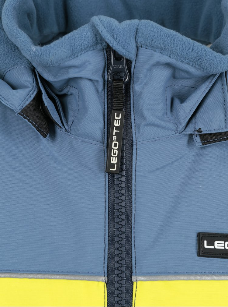 Modrá klučičí funkční bunda s odnímatelnou kapucí a neonovým pruhem Lego Wear Jazz