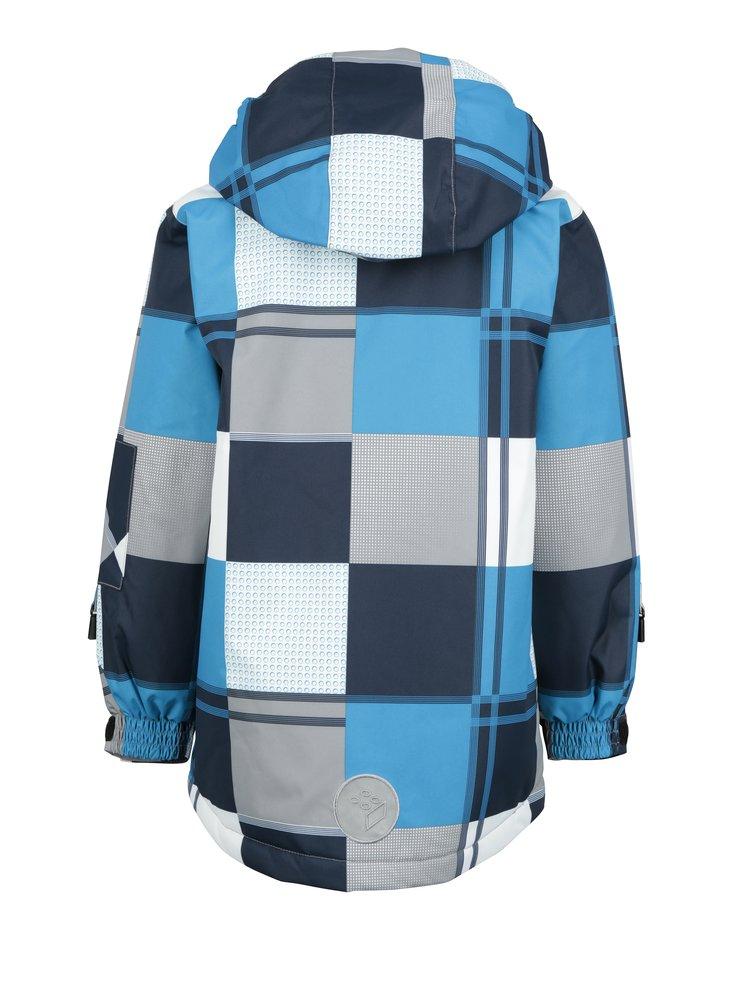 Modro-bílá klučičí kostkovaná funkční bunda s odnímatelnou kapucí Lego Wear Jazz