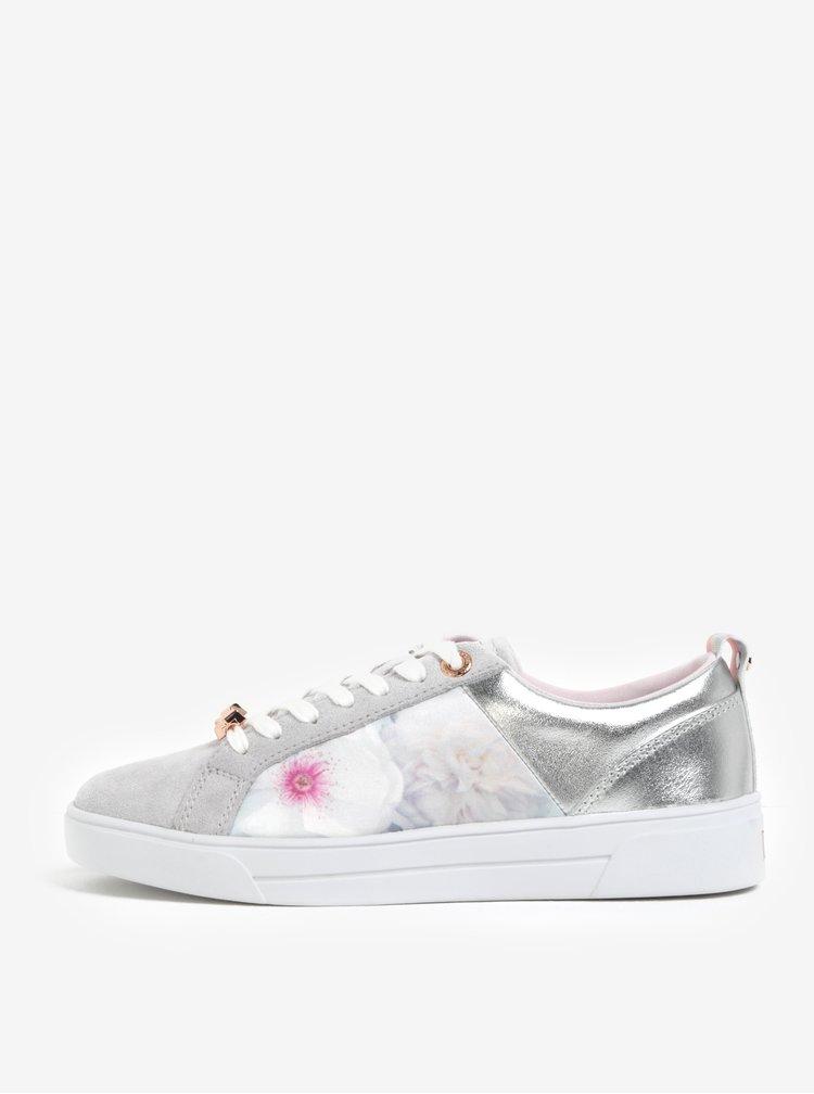 Pantofi sport din piele gri& argintiu cu print floral -  Ted Baker Fushar