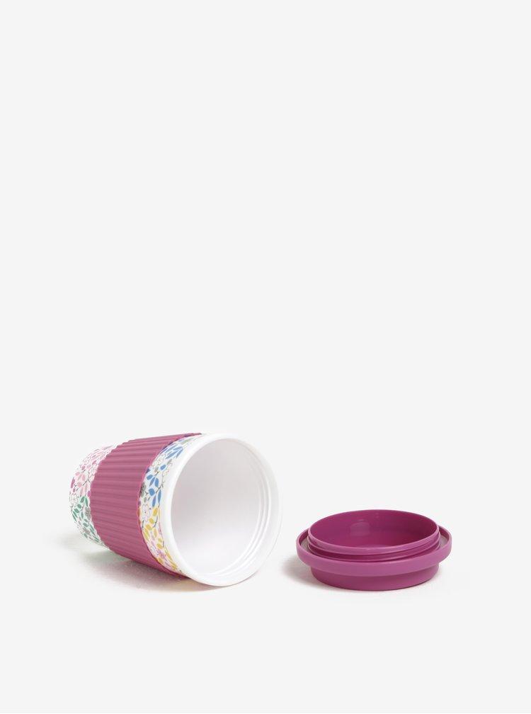 Krémovo-růžový květovaný cestovní hrnek Cath Kidston 330 ml