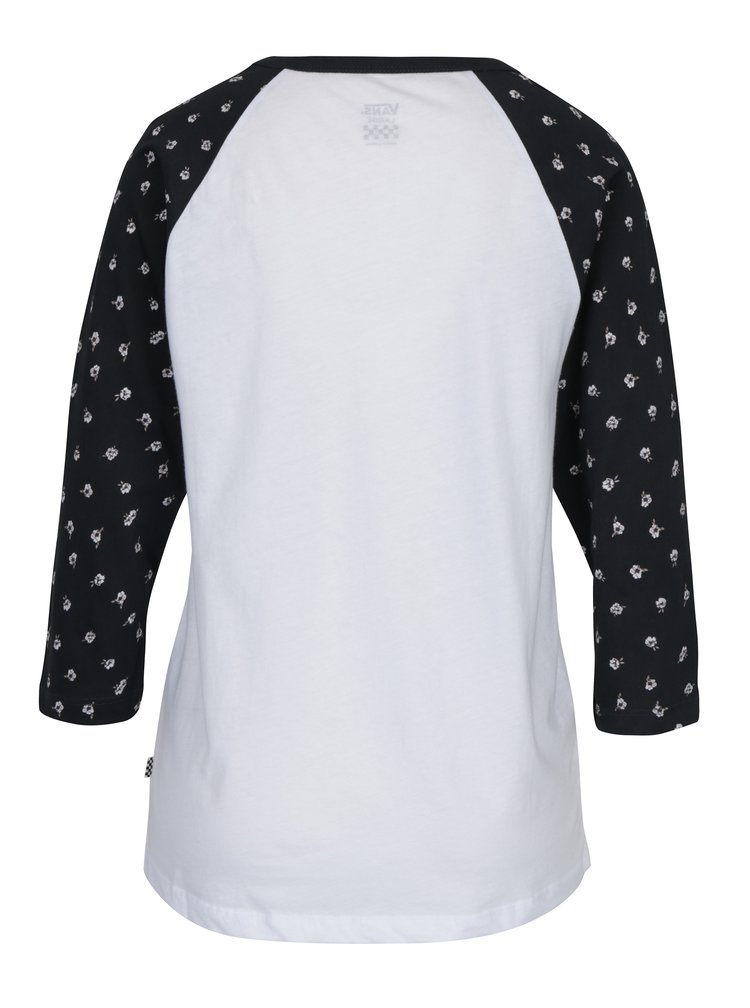 Černo-bílé dámské tričko se vzorovanými rukávy VANS Ditsy