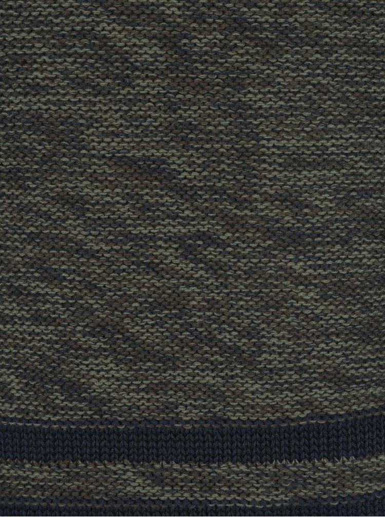 Tmavě zelený žíhaný slim fit svetr Blend