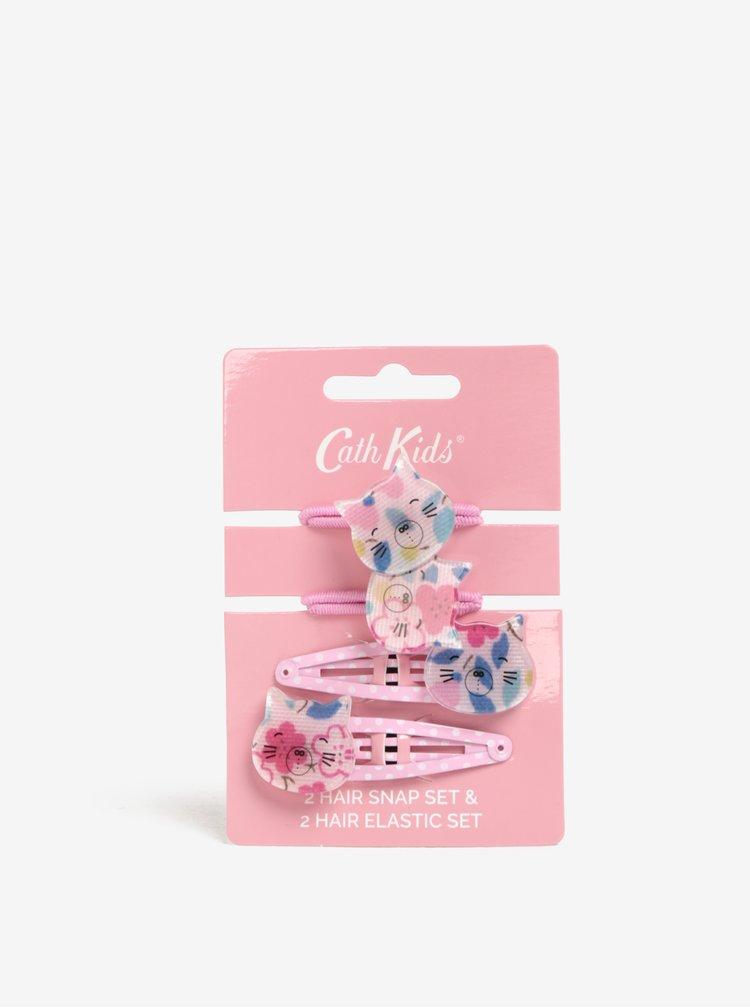 Růžový set dvou gumiček a dvou sponek Cath Kidston