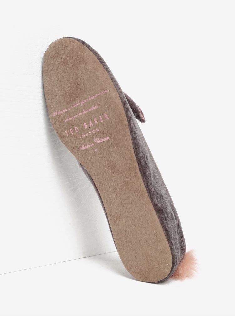 Šedé sametové papuče Ted Baker Bellamo